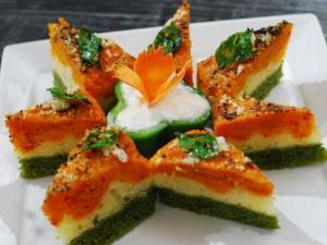 Tricolor Suji Dhokla Recipe